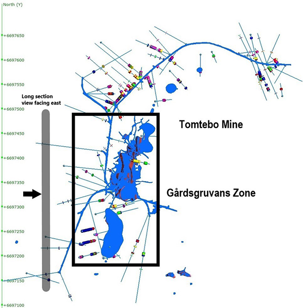 Plan View of Gårdsgruvans Zone at the Tomtebo Mine