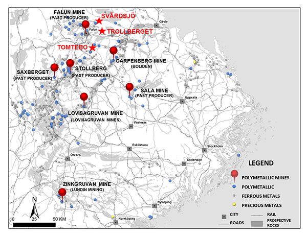 Figure 1: District Metals Mineral Licenses in the Bergslagen Mining District